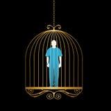 Mann im Goldvogelkäfig Lizenzfreies Stockfoto