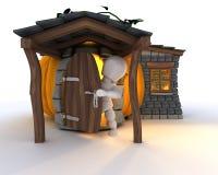 Mann im Halloween-Kürbis-Häuschen Lizenzfreies Stockfoto