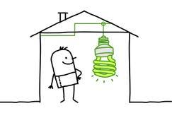 Mann im Haus u. in der grünen Leuchte lizenzfreie abbildung