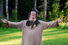 Mann im Kostüm im Holz Stockfotografie