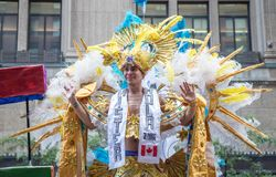 Mann im Kostüm an Toronto-Stolz stockbild