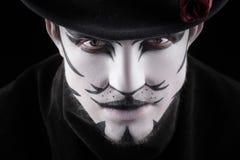 Mann im Make-up, Aussehung wie eine Katze Lizenzfreies Stockbild