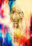 Mann im mystischen Feuer und in den dekorativen Drachen, Bleistiftskizze auf Papier, Weinleseeffekt Lizenzfreie Stockbilder