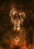 Mann im mystischen Feuer und in den dekorativen Drachen, Bleistiftskizze auf Papier, Weinleseeffekt Lizenzfreie Stockfotografie
