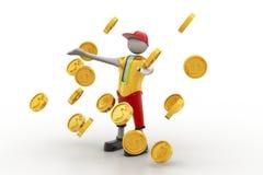 Mann im Regen des Goldmünzekonzeptes Lizenzfreies Stockfoto