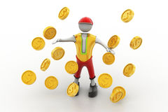Mann im Regen des Goldmünzekonzeptes Lizenzfreie Stockfotografie