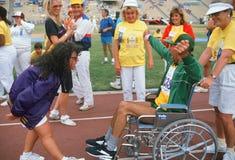 Mann im Rollstuhl an den Paralympische Spielen Stockfotos