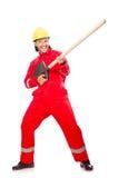 Mann im roten Overall Lizenzfreie Stockbilder