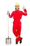 Mann im roten Overall Stockfotografie