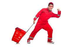 Mann im roten Overall Lizenzfreies Stockfoto