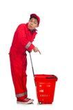 Mann im roten Overall Lizenzfreie Stockfotografie