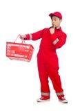 Mann im roten Overall Lizenzfreies Stockbild