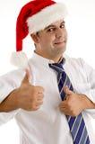 Mann im Sankt-Hut oben zujubelnd Lizenzfreie Stockfotografie