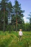 Mann im Sommer-Wald Lizenzfreie Stockfotos