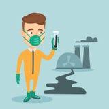 Mann im Strahlungsschutzanzug mit Reagenzglas Lizenzfreies Stockbild