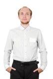 Mann im weißen Hemd mit der Abzeichenkarte getrennt Lizenzfreie Stockfotos