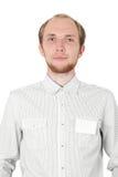 Mann im weißen Hemd mit der Abzeichenkarte getrennt Stockbilder