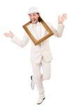 Mann im weißen Kostüm Stockfotografie