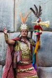 Mann-Inkakrieger peruanische Anden Cuzco Peru lizenzfreie stockfotos