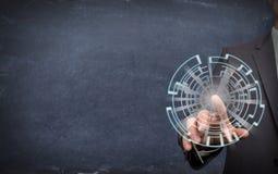 Mann ist rührendes rundes Schirmsymbol Lizenzfreie Stockbilder