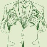 Mann kassieren innen 2 Hände stock abbildung