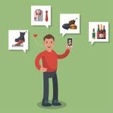 Mann in kaufenden verschiedenen on-line-Waren des roten Hemdes mögen Lebensmittelgeschäfte, Schuhe und Fleisch Farbige flach-ähnl Lizenzfreie Stockfotos