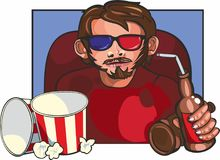 Mann am Kino Stockbild
