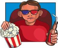 Mann am Kino Stockfoto