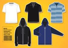 Mann-Kleidungs-verschiedener Schablonen-Vektor Stockbilder