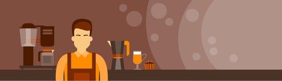 Mann-Kopien-Raum-Fahne Kaffee Barista Work Place Cafe vektor abbildung