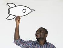 Mann-lächelnde Glück-Papierhandwerks-Künste Rocket Studio Portrait Stockbild