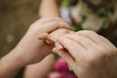 Mann lässt Frau Angebot sich verloben Stockfotos