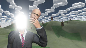 Mann löscht das Gesicht, das innen lightn zeigt Stockbilder