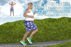 Mann-laufender rüttelnder Ziel-Motivations-Eignungs-Traum Lizenzfreie Stockfotos