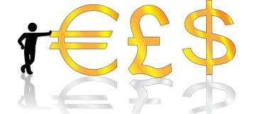 Mann lehnt sich auf Goldeuropound-Dollar lizenzfreie abbildung