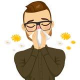 Mann-leidende Frühlings-Allergie Stockbild