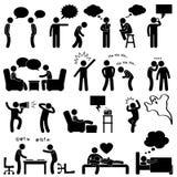 Mann-Leute-sprechendenkendes scherzendes Piktogramm Stockfoto