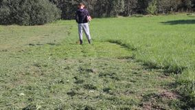 Mann mäht das Gras stock video footage