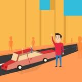 Mann möchten einen Transport fangen Grüßen Sie Freunde lizenzfreie abbildung