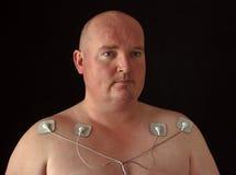 Mann mit 10 Senors auf seiner Karosserie für Massage Stockbilder