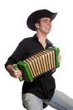 Mann mit Akkordeon und Hut lizenzfreie stockbilder