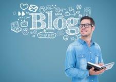 Mann mit Anmerkungen und Blog simsen Grafikdiagramme Stockbilder