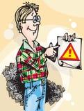 Mann mit Aufmerksamkeit Sign_01 Stockfotografie