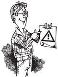Mann mit Aufmerksamkeit Sign_02 Lizenzfreies Stockfoto