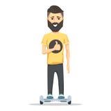 Mann mit Bart auf hoverboard lizenzfreie abbildung