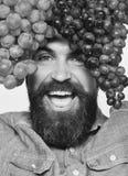 Mann mit Bart hält Bündel der schwarzen und grünen Trauben Stockfoto