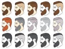 Mann mit Bart, Hippie Vektor Abbildung