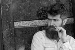 Mann mit Bart und Schnurrbart auf starkem Gesicht, schwarzer Marmorhintergrund Kerl schaut interessiert und neugierig männlichkei stockfoto