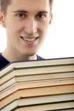 Mann mit Büchern Stockfotografie