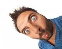 Mann mit überraschtem Ausdruck Stockbilder